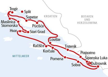 Karte Mittel- und Süddalmatien
