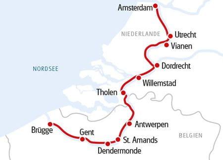 Karte Amsterdam - Brügge, MS FLUVIUS