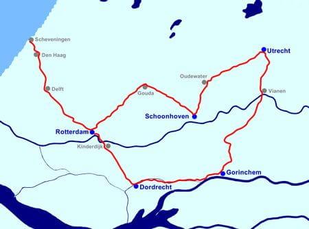 Karte Südholland ab Rotterdam, MS NORMANDIE