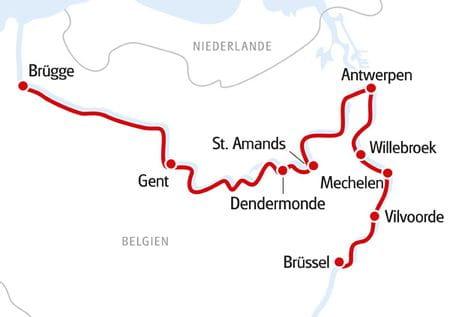 Karte Brügge - Brüssel